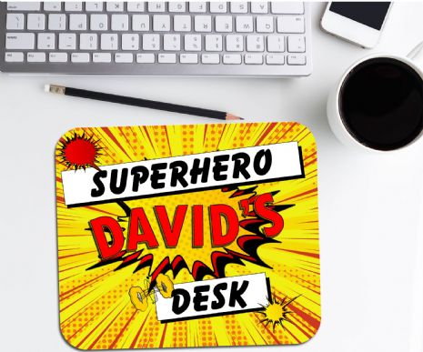Personalised Comic Superhero Mouse Pad PC Computer Mat - Any Name N3